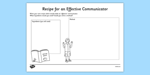 Recipe for an Effective Communicator Activity Sheet, worksheet
