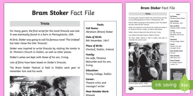 Bram Stoker 3rd and 4th Class Fact File-Irish