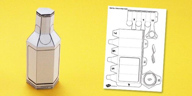 Supermarket Role Play Colour in Paper Bottle - model, bottle