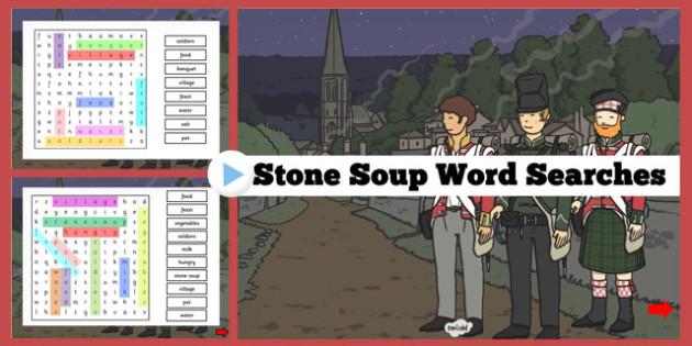 Stone Soup Interactive Wordsearch - stone soup, interactive, wordsearch