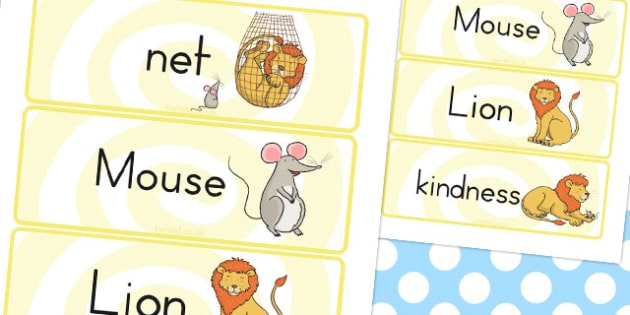 The Lion and the Mouse Word Cards - australia, lion, mouse, words