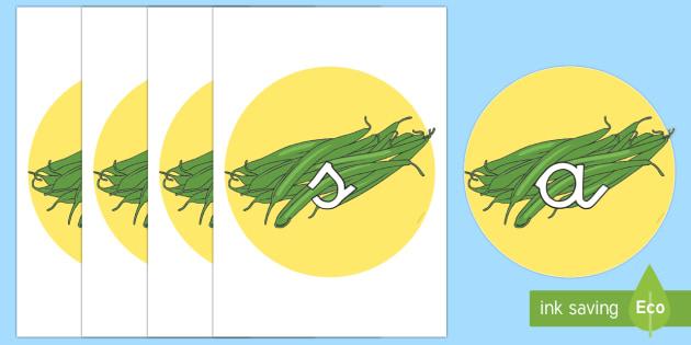 Tarjetas de fonemas: Judías verdes - lecto, leer, primeros sonidos