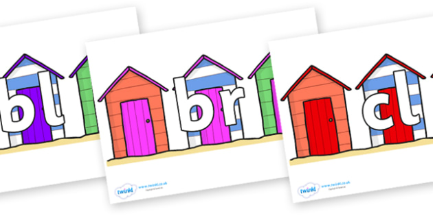 Initial Letter Blends on Beach Huts - Initial Letters, initial letter, letter blend, letter blends, consonant, consonants, digraph, trigraph, literacy, alphabet, letters, foundation stage literacy