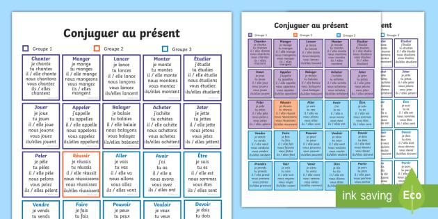 Fiche D Information Conjuguer Au Present Teacher Made