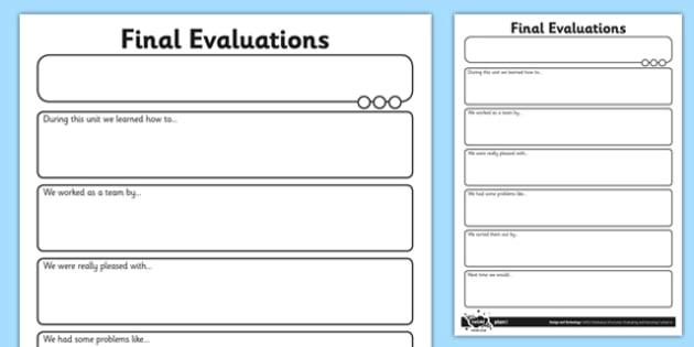 Final Evaluations Activity Sheet - final evaluations, activity sheet, activity, sheet, worksheet