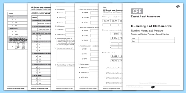 Second Level Assessment Numeracy and Mathematics Number Money and Measure Decimal Fractions - CfE, assessment, decimal fractions, place value, money, measure