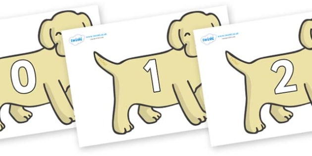 Numbers 0-50 on Puppies - 0-50, foundation stage numeracy, Number recognition, Number flashcards, counting, number frieze, Display numbers, number posters