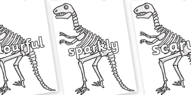Wow Words on Dinosaur Skeletons - Wow words, adjectives, VCOP, describing, Wow, display, poster, wow display, tasty, scary, ugly, beautiful, colourful sharp, bouncy