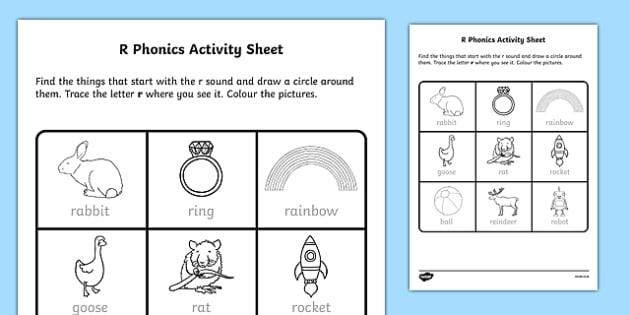 r Phonics Activity Sheet-Irish, worksheet