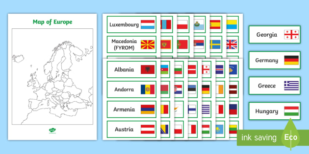 A3 Europe Map and Country Name Matching Activity - Map of ...