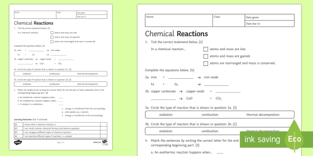 Chemical Reactions Worksheet Ks3 Chemistry Science Resource