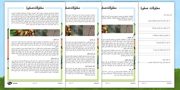 نشاط قراءة وفهم متمايز عن المخلوقات الصغيرة