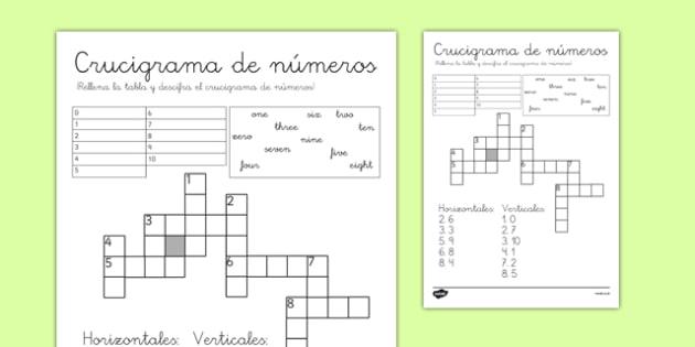 Crucigrama de números de 1 a 10 en inglés - crucigrama, números