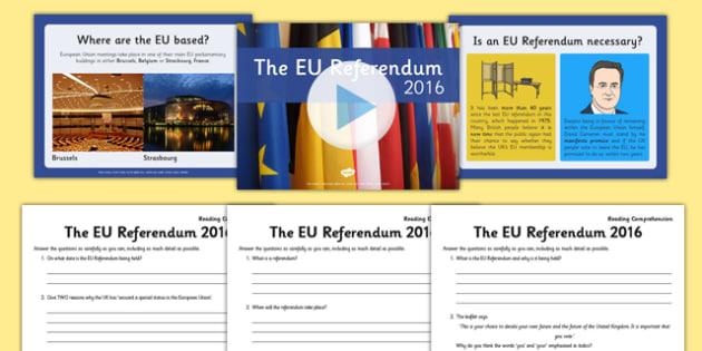 EU Referendum 2016 Differentiated Reading Comprehension Sheets and PowerPoint Pack - EU, referendum, vote, ballot, Thursday 23rd June 2016, European Union, pros, cons