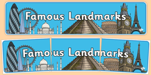 Famous Landmarks Banner World Wide Places - famous, landmarks, banner, display, world wide, places