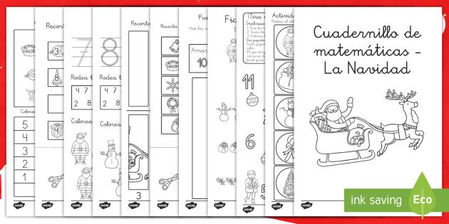 Cuadernillo de matemáticas: La Navidad - números, navidad