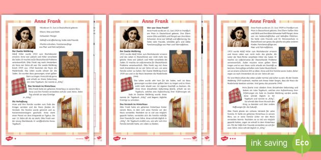 Anne Frank Leseverstehen Arbeitsblätter: Unterschiedliche