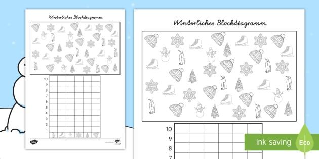 Winterliches Blockdiagramm Arbeitsblatt - Winter, zählen