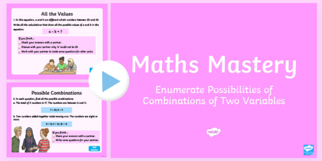 Year 6 Algebra Enumerate Possibilities Maths Mastery Activities PowerPoint