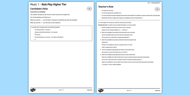 Music 1 GCSE Higher Tier Role-Play French - Speaking, oral, musique, concert, singer, band, instrument, type
