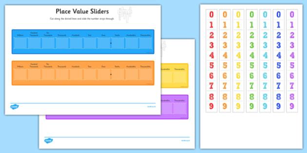 Place Value Maths Sliders Including T H Th M - ks2, maths, numeracy, place, value, digit, tens, hundreds, thousands, millions, slide,