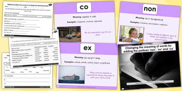 Adding Prefixes non ex and co SPaG Lesson Teaching Pack - ppt,  teeach, gps, spg, sapg, soag, fewer, gpas