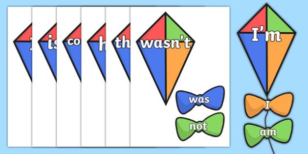 Contraction Kites - contraction. Contraction display, classroom display, literacy display, writing aids, visual aid, literacy aid, contractions display