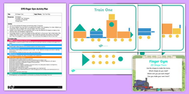 EYFS 2D Shape Train Finger Gym Plan and Resource Pack
