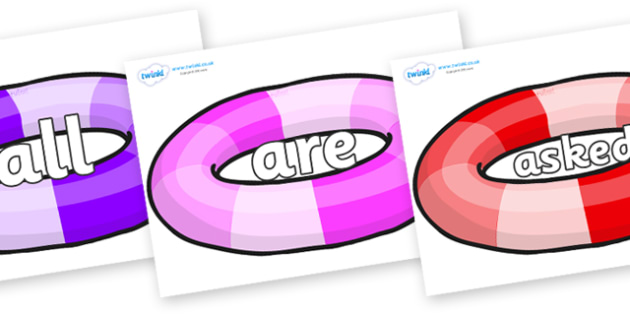 Tricky Words on Inflatable Rings - Tricky words, DfES Letters and Sounds, Letters and sounds, display, words