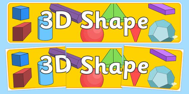 3D Shape Banner - 3D shape display, shape display, shape banner, shape names, shape Pictures, Shape Words
