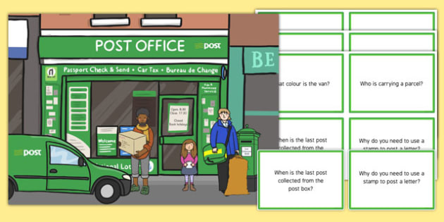 AN Post Office Scene With Question Cards - roi, republic, ireland, irish, post, postal, mail, office, letters, parcel, send, sending, questions, speaking, listening, how, what, how, who, why, when
