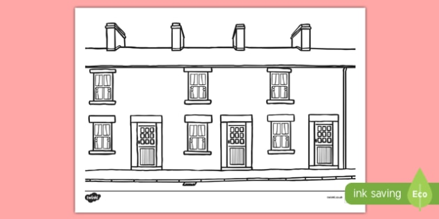 Terraced Houses Colouring Sheet - terraced, house, home, colour, colouring, activity
