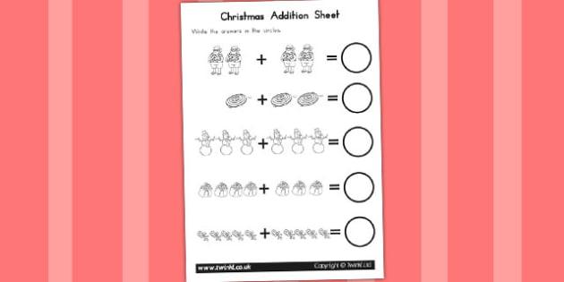 Christmas Addition Sheet - australia, christmas, addition, sheet
