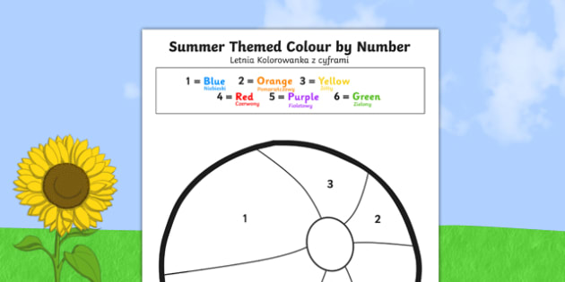 Summer-Themed Colour by Number Polish Translation - polish, seasons, counting aid, numbers
