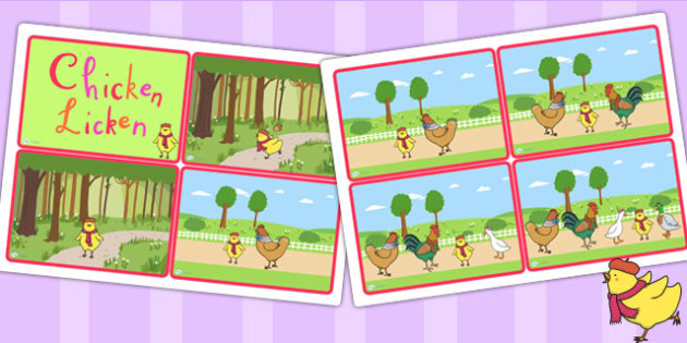 Chicken Licken Story Sequencing Cards - story books, stories