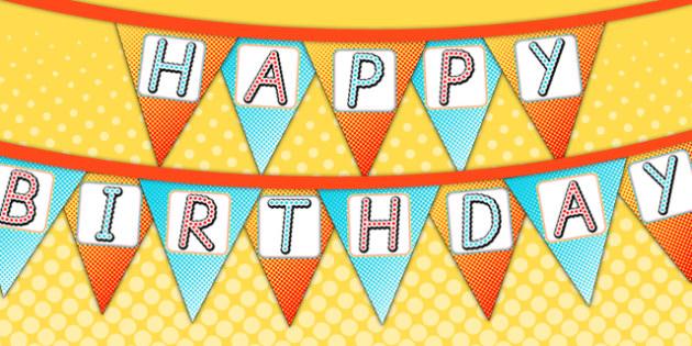 Superhero Themed Birthday Party Happy Birthday Bunting - birthday