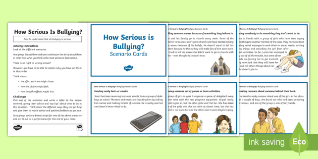 Anti Bullying Week Scene and Question Cards