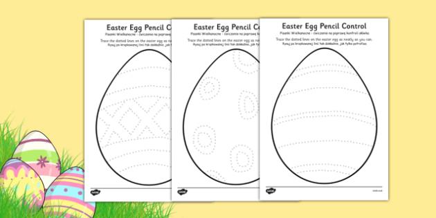 Easter Egg Pencil Control Worksheet / Activity Sheets Polish Translation - polish, easter egg, pencil control, activity, worksheet