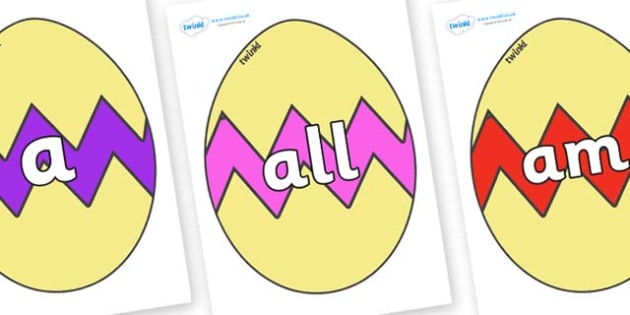 Foundation Stage 2 Keywords on Easter Eggs (Cracked) - FS2, CLL, keywords, Communication language and literacy,  Display, Key words, high frequency words, foundation stage literacy, DfES Letters and Sounds, Letters and Sounds, spelling
