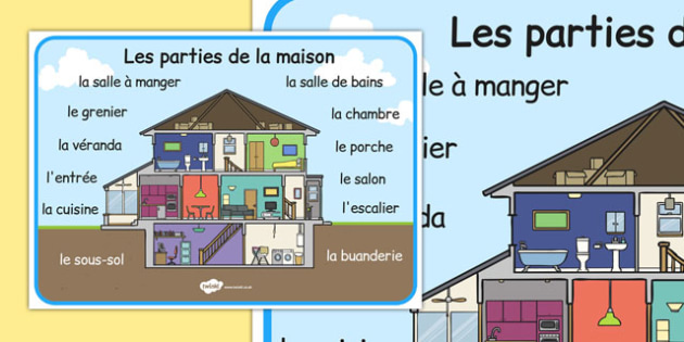 Les parties de la maison word mat french french house word for A la maison french