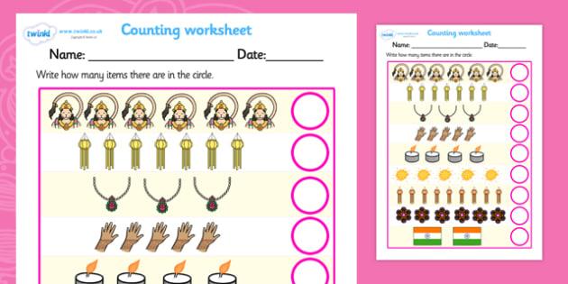 Diwali Counting Worksheet - diwali, counting, worksheet, diwali worksheet, addition worksheet, counting and addition, addition, numeracy, adding, plus