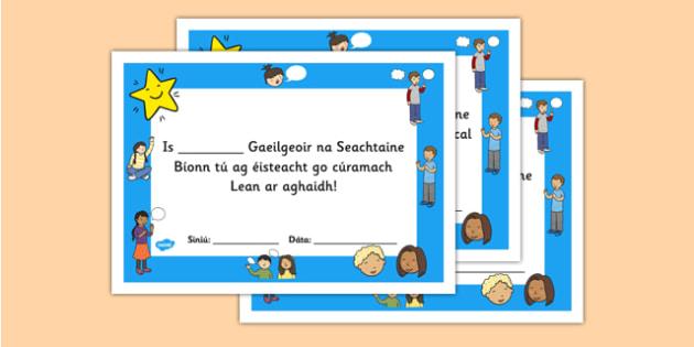 Gaeilgeoir na Seachtaine Fifth and Sixth Class Certificate - roi, irish, gaeilge, certificate, language, Gaeilgeoir, Fifth and Sixth Class