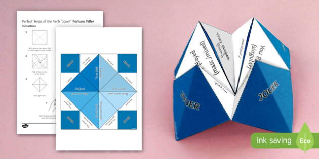 Jouer Perfect Tense Fortune Teller-French - French, Fortune Teller, jouer, perfect, tense, conjugation,French