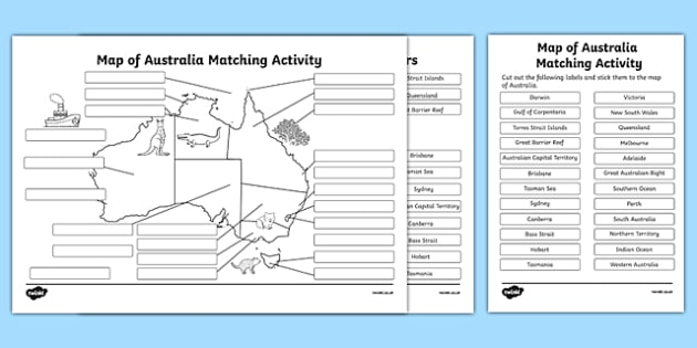 Map of Australia Matching Activity - australia, map of ...