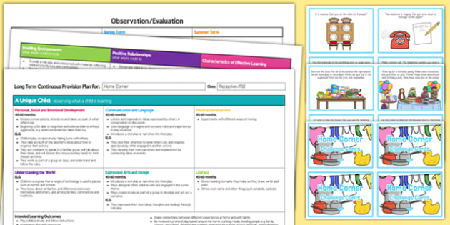Home Corner Editable Continuous Provision Plan and Challenge Cards Pack Reception FS2
