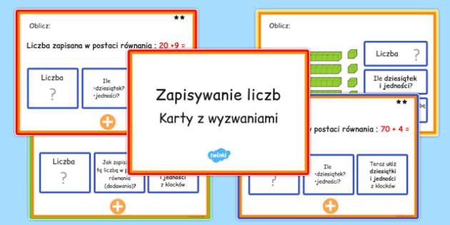 Karty z wyzwaniami Zapisywanie liczb po polsku - matematyka