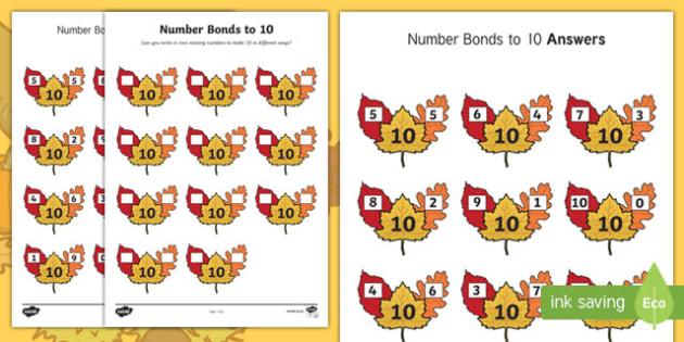 Autumn Leaf Number Bonds to 10 Activity Sheet