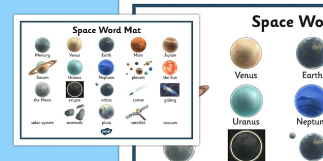 Space Word Mat - space, ship, word mat, mat, writing aid, rocket, aliens, launch, foundation stage, topic, moon, stars, planet, planets