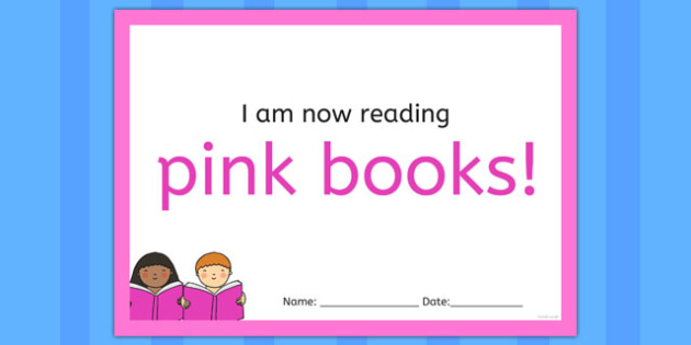 I'm Now Reading Pink Books Certificate - certificate, coloured, reading, book