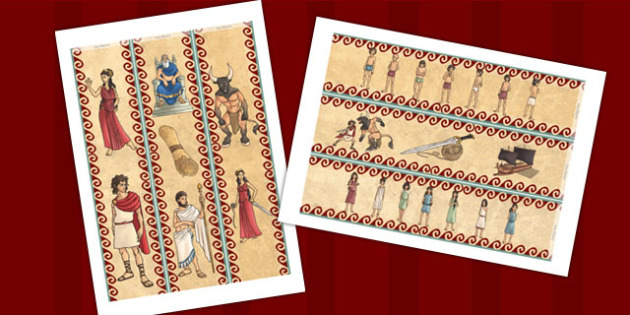 Theseus and the Minotaur Display Borders - story books, borders